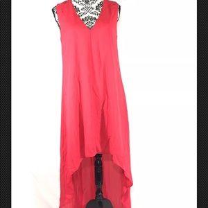 Adelyn Rae Dress V Neck Hi Low Hem Plunging Back